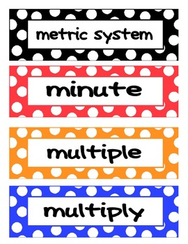 3rd Grade Common Core Math Vocab Cards