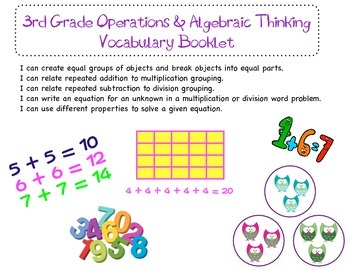 3rd Grade Common Core Math Vocabulary Booklet Bundle