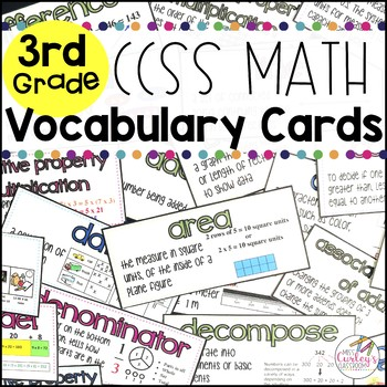 3rd Grade Common Core Math Vocabulary Cards