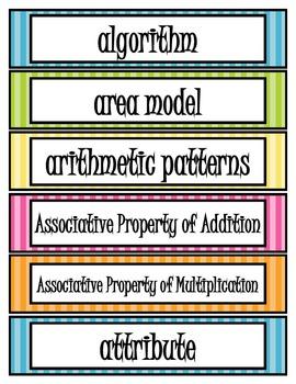 3rd Grade Common Core Math Vocabulary Cards