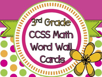 3rd Grade Common Core Math Vocabulary Cards + Word Wall Letters POLKA DOT THEME