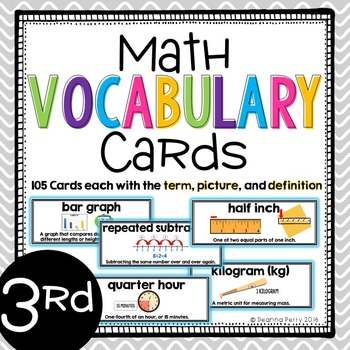 3rd Grade Common Core Math Vocabulary Cards with Definitio