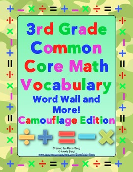 3rd Grade Common Core Math Word Wall and More (Camouflage Edition)