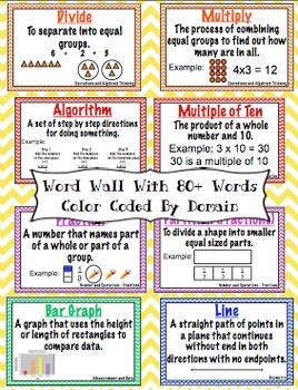 3rd Grade Common Core Math Word Wall and More (Chevron Edition)