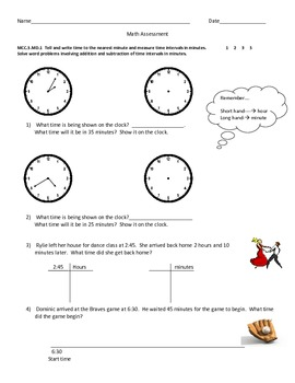 3rd Grade Common Core Measurement Assessment Modified