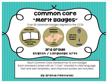"3rd Grade Common Core Merit Badges (ELA), with ""I Can"" Checklists"