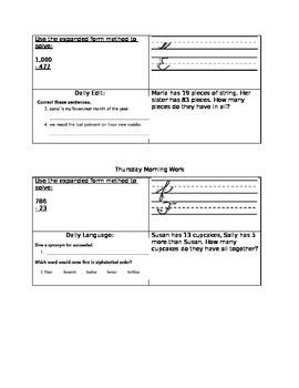 3rd Grade Common Core Morning Work (6 editable days)