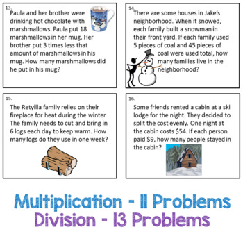 Multiplication and Division Winter Task Cards - 3.OA.3