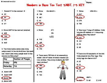 Place Value Test 3rd Grade FREE