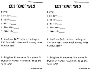 Addition and Subtraction to 1,000 Math Tasks and Exit Tickets