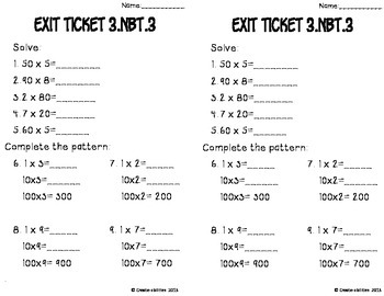 Multiples of Ten Math Tasks and Exit Tickets