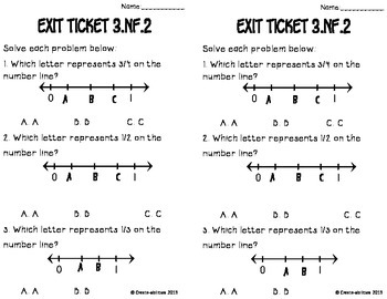 Fractions on Number Lines Math Tasks and Exit Tickets