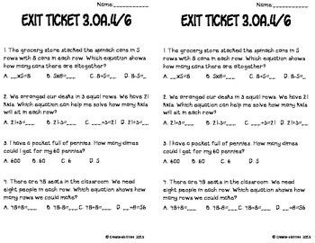 Unknown Factors Math Tasks and Exit Tickets