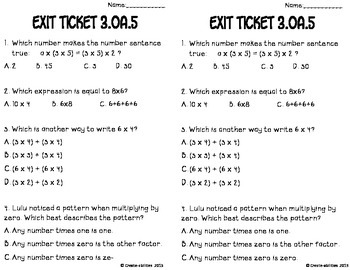 Multiplication Properties Math Tasks and Exit Tickets