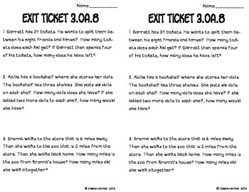 Two-Step Word Problems Math Tasks and Exit Tickets