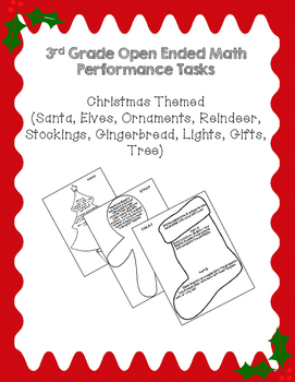 3rd Grade Common Core Open Ended Christmas Math Assessment Task Bundle