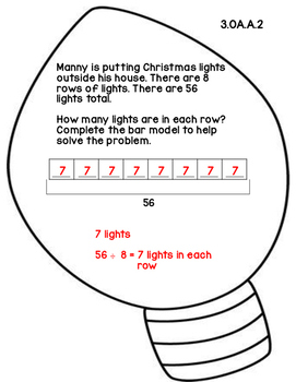 3rd Grade Common Core Open Ended Christmas Math Assessment Task (Light)