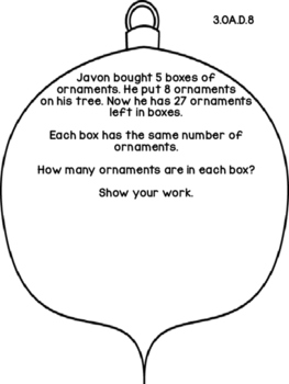 3rd Grade Common Core Open Ended Christmas Math Assessment
