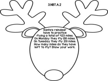 3rd Grade Common Core Open Ended Christmas Math Assessment Task (Reindeer)