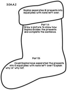 3rd Grade Common Core Open Ended Christmas Math Assessment Task (Stocking)