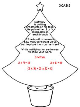 3rd Grade Common Core Open Ended Christmas Math Assessment Task (Tree)