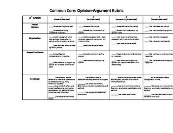 3rd Grade Common Core Opinion Rubric for KIDS