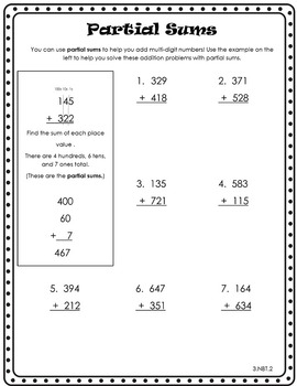 3rd Grade Common Core Partial Sums