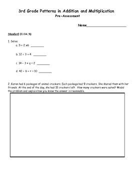 3rd Grade Common Core Patterns in Addition and Multiplication Assessment