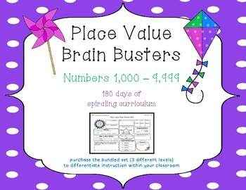 3rd Grade CCSS Place Value Brain Busters Daily Spiral Review / Number of the Day