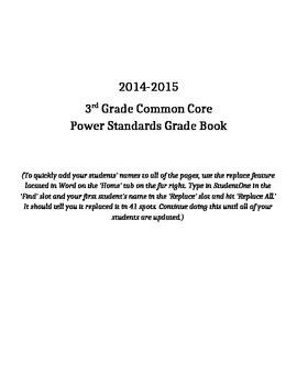 3rd Grade Common Core Power Standards Grade Book