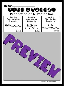 3rd Grade Common Core Properties of Multiplication (Find a Buddy)