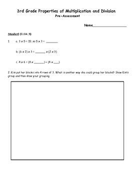 3rd Grade Common Core Properties of Multiplication and Division Assessment