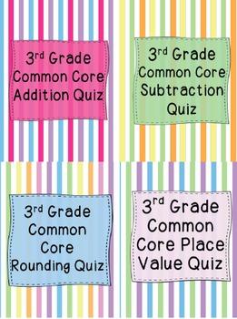 3rd Grade Common Core Quiz Bundle