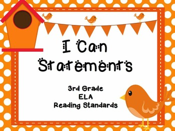 "3rd Grade Common Core Reading - ""I Can"" Learning Targets - Birds"