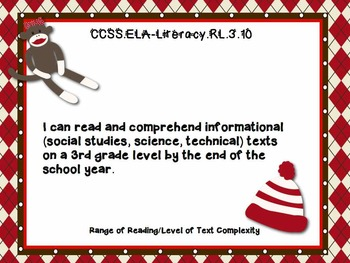 "3rd Grade Common Core Reading - ""I Can"" Learning Targets - Sock Monkey"