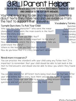 3rd Grade Common Core Reading Literature Parent Helper -also in Spanish