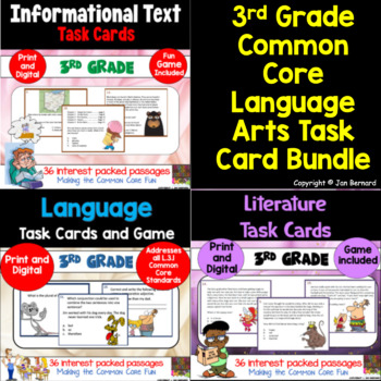 3rd Grade Common Core Reading Task Cards Bundle
