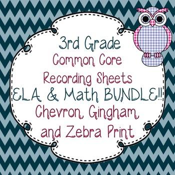 3rd Gr. Common Core Tracking Sheets Math & ELA Bundle-Chevron, Gingham, & Zebra
