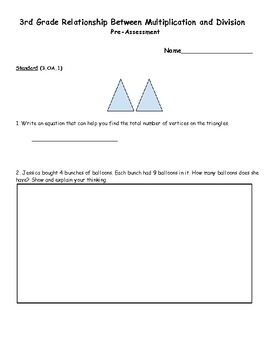 3rd Grade Common Core Relationship Between Multiplication and Division Test