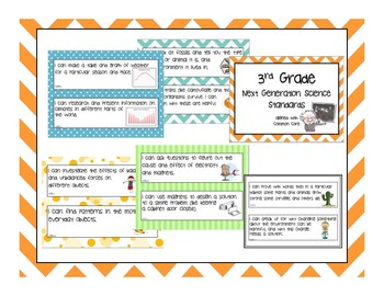 """NGSS """"I Can"""" Posters -3rd Grade- use with Next Generation Science Standards"""