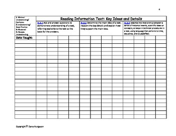 3rd Grade Common Core Standards (ALL) Class Roster Data Collection Charts