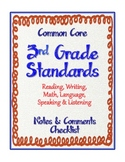 "3rd Grade Common Core Standards - ELA and Math ""Notes & Co"
