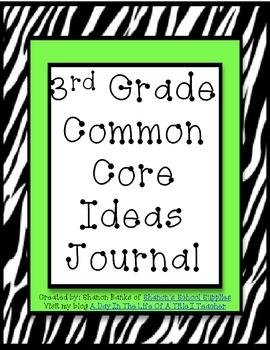 3rd Grade Common Core Standards Journal for Teacher Green Zebra