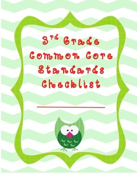 3rd Grade Common Core Standards Teaching Checklist