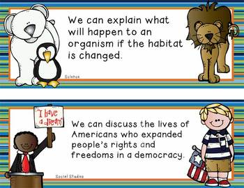 """3rd Grade Common Core Standards """"WE CAN"""" format - blue stripes"""