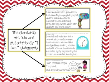 3rd Grade Common Core Standards and Posters in Color, Chevron, and Animal Print