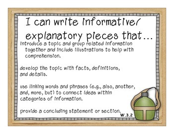3rd Grade Common Core Standards for Posting--Camping Theme