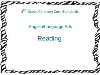 3rd Grade Common Core Standards for Reading ELA