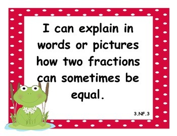 3rd Grade Common Core State Standard: Math I Can Statements w/ Frogs