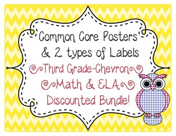 3rd Grade Common Core CCSS Labels and Posters Math and ELA-Chevron Print